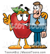 Mascot Cartoon of a Nutritious Red Apple Character Mascot Talking Nutrition with a Business Man by Toons4Biz