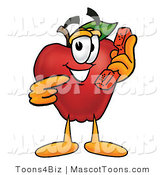 Mascot Cartoon of a Nutritious Red Apple Character Mascot Talking on a Telephone by Toons4Biz