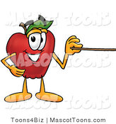 Mascot Cartoon of a Nutritious Red Apple Character Mascot Using a Pointer Stick by Toons4Biz