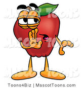 Mascot Cartoon of a Nutritious Red Apple Character Mascot Whispering Secrets by Toons4Biz