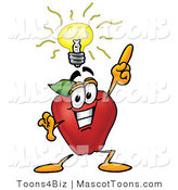 Mascot Cartoon of a Nutritious Red Apple Character Mascot with a Bright Idea by Toons4Biz