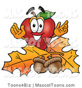 Mascot Cartoon of a Nutritious Red Apple Character Mascot with Acorns and Fall Leaves in Autumn by Toons4Biz