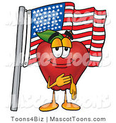 Mascot Cartoon of a Patriotic Healthy Red Apple Character Mascot Giving the Pledge of Allegiance in Front of an American Flag by Toons4Biz