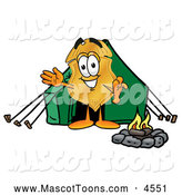 Mascot Cartoon of a Police Badge Mascot Cartoon Character Camping with a Tent and Fire by Toons4Biz