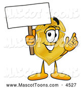 Mascot Cartoon of a Police Badge Mascot Cartoon Character Holding a Blank Sign by Toons4Biz