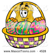 Mascot Cartoon of a Police Badge Mascot Cartoon Character in an Easter Basket Full of Decorated Easter Eggs by Toons4Biz