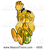 October 6th, 2013: Mascot Cartoon of a Police Badge Mascot Cartoon Character Plugging His Nose While Jumping into Water by Toons4Biz