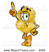 Mascot Cartoon of a Police Badge Mascot Cartoon Character Pointing Upwards by Toons4Biz