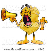 Mascot Cartoon of a Police Badge Mascot Cartoon Character Screaming into a Megaphone by Toons4Biz