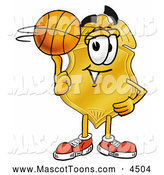 Mascot Cartoon of a Police Badge Mascot Cartoon Character Spinning a Basketball on His Finger by Toons4Biz