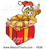 Mascot Cartoon of a Police Badge Mascot Cartoon Character Standing by a Christmas Present by Toons4Biz