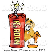 Mascot Cartoon of a Police Badge Mascot Cartoon Character Standing with a Lit Stick of Dynamite by Toons4Biz