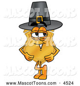 Mascot Cartoon of a Police Badge Mascot Cartoon Character Wearing a Pilgrim Hat on Thanksgiving by Toons4Biz