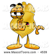 Mascot Cartoon of a Police Badge Mascot Cartoon Character Whispering and Gossiping by Toons4Biz