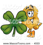 Mascot Cartoon of a Police Badge Mascot Cartoon Character with a Green Four Leaf Clover on St Paddy by Toons4Biz