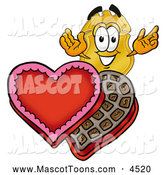 Mascot Cartoon of a Police Badge Mascot Cartoon Character with an Open Box of Valentines Day Chocolate Candies by Toons4Biz
