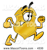 Mascot Cartoon of a Police Detective Badge Mascot Cartoon Character Running by Toons4Biz