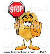 July 25th, 2013: Mascot Cartoon of a Professional Badge Mascot Cartoon Character Holding a Stop Sign by Toons4Biz