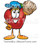 Mascot Cartoon of a Red Apple Character Mascot Catching a Baseball in the Air with a Glove by Toons4Biz