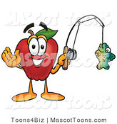 Mascot Cartoon of a Red Apple Character Mascot Holding a Fish on a Fishing Line by Toons4Biz