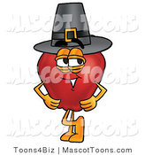 Mascot Cartoon of a Red Apple Character Mascot Wearing a Pilgrim Hat on Thanksgiving Day by Toons4Biz
