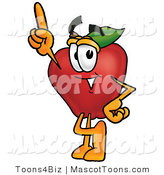Mascot Cartoon of a Red Apple Pointing up by Toons4Biz