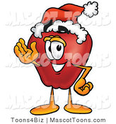 Mascot Cartoon of a Red Apple Wearing a Santa Hat and Waving by Toons4Biz