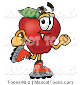 Mascot Cartoon of a Roller Blading Apple Character by Toons4Biz