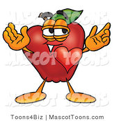 Mascot Cartoon of a Romantic Apple in Love by Toons4Biz