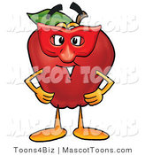Mascot Cartoon of a Silly Red Apple Character Mascot Wearing a Red Mask on Halloween by Toons4Biz