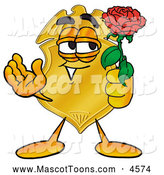 Mascot Cartoon of a Smiling Badge Mascot Cartoon Character Holding a Red Rose on Valentines Day by Toons4Biz