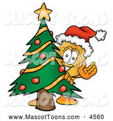 Mascot Cartoon of a Smiling Badge Mascot Cartoon Character Waving and Standing by a Decorated Christmas Tree by Toons4Biz