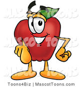 Mascot Cartoon of a Smiling Red Apple Character Mascot Pointing at the Viewer by Toons4Biz