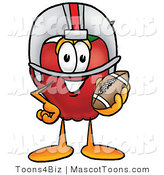 Mascot Cartoon of a Sporty and Nutritious Red Apple Character Mascot in a Helmet, Holding a Football by Toons4Biz