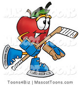Mascot Cartoon of a Sporty Healthy Red Apple Character Mascot Playing Ice Hockey by Toons4Biz