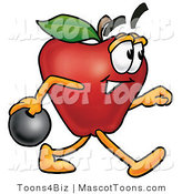 Mascot Cartoon of a Sporty Nutritious Red Apple Character Mascot Holding a Bowling Ball by Toons4Biz