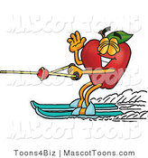 Mascot Cartoon of a Sporty Nutritious Red Apple Character Mascot Waving and Water Skiing by Toons4Biz