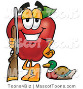 Mascot Cartoon of a Sporty Red Apple Character Mascot Duck Hunting, Standing with a Rifle and Duck by Toons4Biz