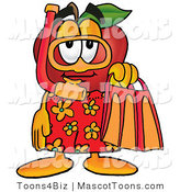 Mascot Cartoon of a Sporty Red Apple Character Mascot in Orange and Yellow Snorkel Gear by Toons4Biz