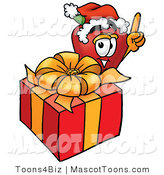 Mascot Cartoon of an Apple Christmas Present by Toons4Biz