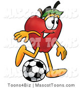 Mascot Cartoon of an Athletic Red Apple Character Mascot Kicking a Soccer Ball by Toons4Biz