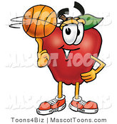 Mascot Cartoon of an Athletic Red Apple Character Mascot Spinning a Basketball on His Finger by Toons4Biz