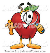 Mascot Cartoon of an Investigative Red Apple Character Mascot Peeking Through a Magnifying Glass by Toons4Biz