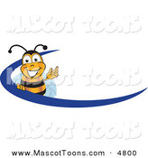 Mascot Vector Cartoon of a Black and Yellow Bee Mascot Cartoon Character Logo with a Blue DashBlack and Yellow Bee Mascot Cartoon Character Logo with a Blue Dash by Toons4Biz