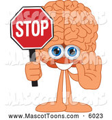 Mascot Vector Cartoon of a Brain Mascot Holding a Stop Sign by Toons4Biz