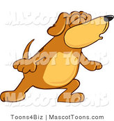 Mascot Vector Cartoon of a Brown and Tan Dog Mascot Cartoon Character with Closed Eyes, Singing or Howling by Toons4Biz