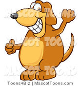 Mascot Vector Cartoon of a Brown Dog Mascot Cartoon Character Grinning and Waving to an Acquaintance by Toons4Biz