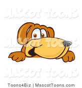 Mascot Vector Cartoon of a Brown Dog Mascot Cartoon Character Peering over a Surface by Toons4Biz