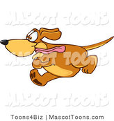 Mascot Vector Cartoon of a Brown Dog Mascot Cartoon Character Running Obsessively After Something with Its Tongue Hanging out by Toons4Biz