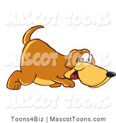 Mascot Vector Cartoon of a Brown Dog Mascot Cartoon Character Sniffing the Ground and Walking by Toons4Biz